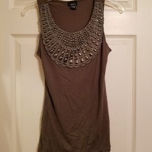 Army green tank top w/ beaded neckline